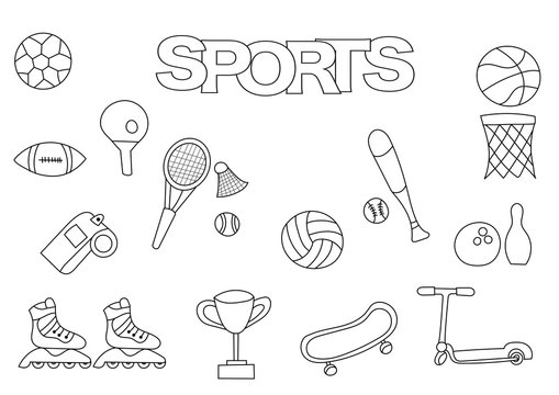 Hand drawn sports set. Coloring book template.  Outline doodle elements vector illustration. Kids game page.