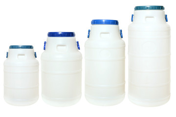 Set of white plastic canisters. Isolated on a white backgroud