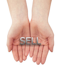 woman open hand with text sell isolated on white