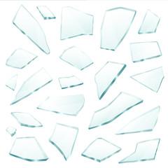 Broken Glass Fragments Shards Realistic Set