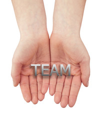 woman open hand with text team isolated on white