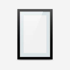 Vertical black vector photo frame with passe-partout