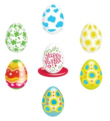 Multicolored Easter Eggs and inscription on white egg