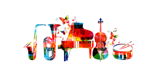 Music instruments background. Colorful saxophone, euphonium, piano, violoncello and drum isolated vector illustration