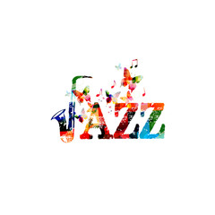 Music instrument background. Colorful word jazz with saxophone isolated vector illustration