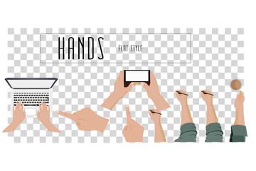 Hands set. Vector flat illustrations.