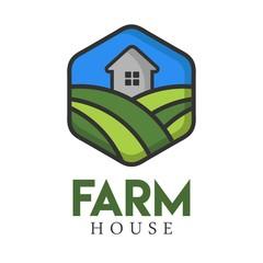 Farm house logo illustration full vector