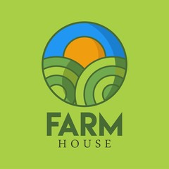 Farm house logo illustration full vector