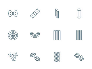 Pasta set of vector icons
