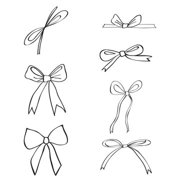 Hand drawn ribbons and bows isolated on white background, doodle ink sketch illustration, black line art style, decorative elements for design greeting card, wedding invite, packaging, advertising