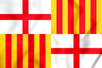 3D Flag of Barcelona city, Spain.