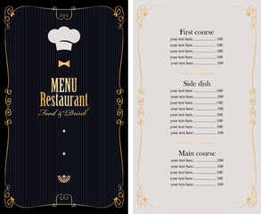 vector menu for restaurant or cafe with price list, gold curly frame and chefs hat in baroque style
