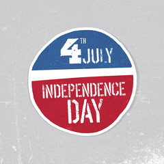 Independence day greeting badge. Patriotic design template. Grunge textures in layers and can be edited.