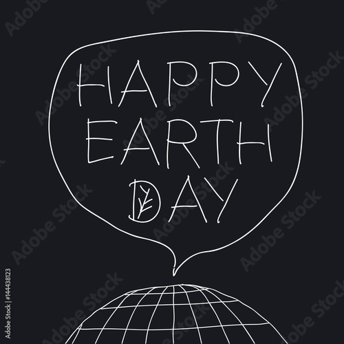 Happy earth day greeting lettering in speech balloon vector happy earth day greeting lettering in speech balloon vector illustration with the words planet m4hsunfo
