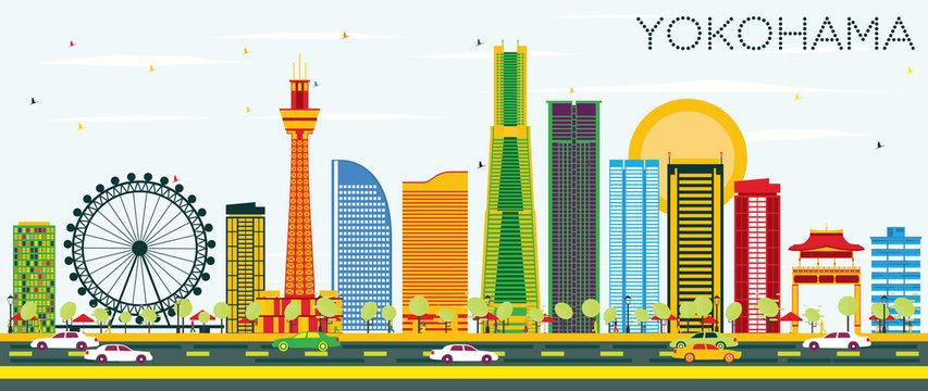 Yokohama Skyline with Color Buildings and Blue Sky.