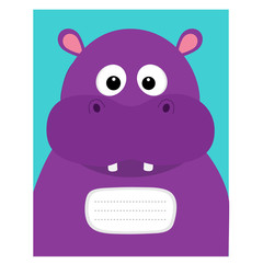 Notebook cover. Composition book template. Hippopotamus head face. Cute cartoon character hippo with tooth. Baby animal collection. Education card for kids. Flat design. Blue background.