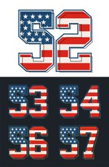 set Number with america flag, vector images are straight and smooth.
