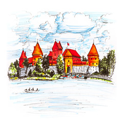 Color hand drawing, Trakai Island Castle or Traku pilis in summer day near Vilnius, Lithuania. Picture made liner