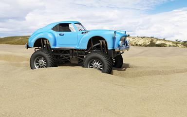 Monster truck offroad car in sand desert. 3d image