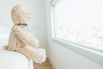 Cute teddy bear looking out of the window ,Teddy bear feeling lonely
