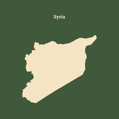 Outline map of Syria. vector illustration.