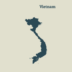 Outline map of Vietnam. vector illustration.