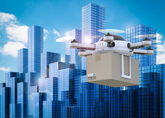 Wall Mural - delivery drone flying in city
