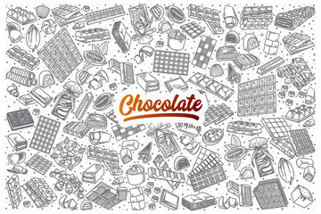 Hand drawn Chocolate doodle set background with orange lettering in vector