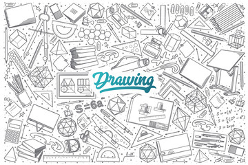 Hand drawn Drawing doodle set background with blue lettering in vector