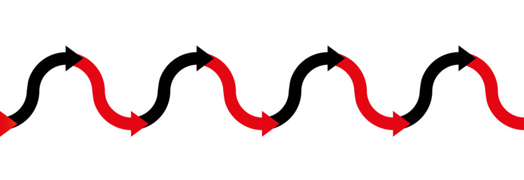 In the red - in the black - up and down arrow wave - business symbol for making profit or having positive income in the black, and having losses or being in debt in the red - seamless extensible.
