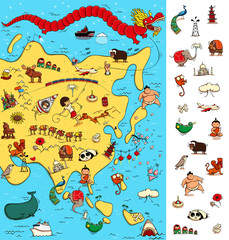 Map of Asia: Big Visual Game. Locate isolated items on a map.