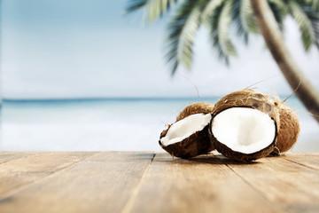 Foto auf AluDibond Palms coconuts