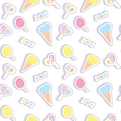 Seamless pattern with sweets stickers