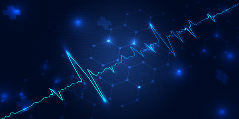 Health Concept with Cardiac Frequency in blue background