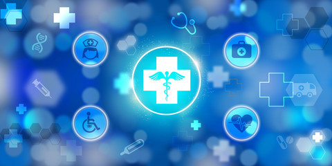Digital Health care icons on abstract background