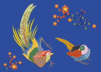 Fabulous large bird with Golden feathers. Japanese.