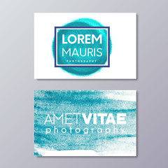 Photography business card art design. Hand drawn abstract blue marine watercolor spot texture.