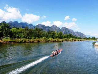 Nam Xong River in Vang Vieng Laos