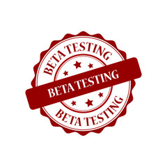 Beta testing red stamp illustration