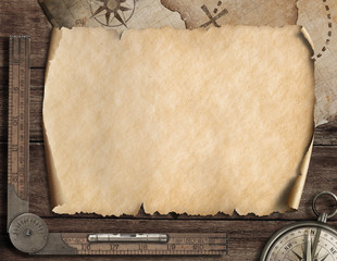 Old blank map background and compass. Adventure concept. 3d illustration.