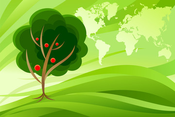 A Concept of world map across the green sky with a cherry tree. Vector Illustration.