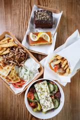 Greek meat food gyros,souvlaki snack with roasted meat