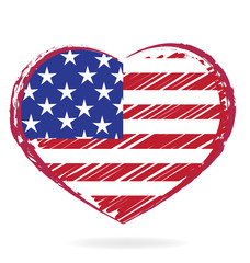 Heart love USA grunge flag logo