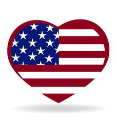 Heart love american flag symbol logo vector image