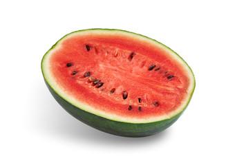 Watermelon sliced on white background.