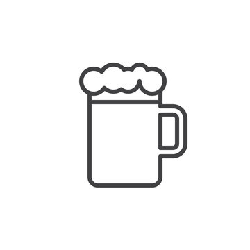 Beer mug with foam line icon, outline vector sign, linear style pictogram isolated on white. Pub symbol, logo illustration. Editable stroke. Pixel perfect
