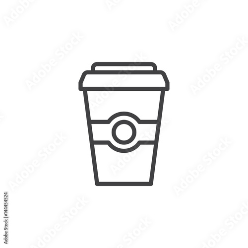 coffee paper cup line icon outline vector sign linear style