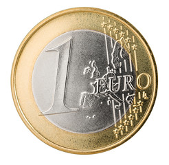 one euro coin isolated on white background / 1 euro münze isoliert auf hintergrund weiß
