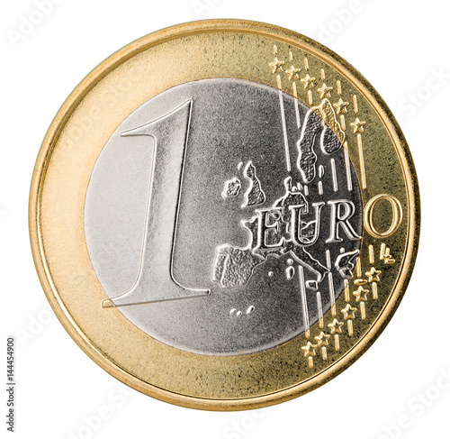 One Euro Coin Isolated On White Background 1 Euro Münze Isoliert