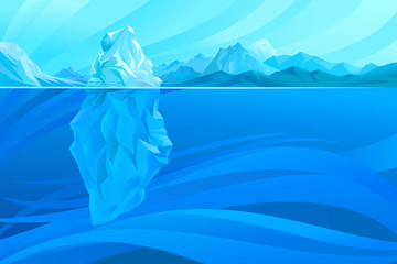 Ice berg in an ocean. Vector Illustration.